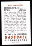 1951 Bowman REPRINT #247  Bob Ramazzotti  Back Thumbnail