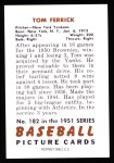 1951 Bowman REPRINT #182  Tom Ferrick  Back Thumbnail