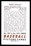 1951 Bowman REPRINT #297  Dave Philley  Back Thumbnail