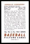 1951 Bowman REPRINT #96  Sandy Consuegra  Back Thumbnail