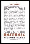 1951 Bowman REPRINT #308  Ted Beard  Back Thumbnail