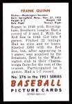 1951 Bowman REPRINT #276  Frank Quinn  Back Thumbnail