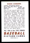 1951 Bowman REPRINT #186  Richie Ashburn  Back Thumbnail