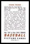 1951 Bowman REPRINT #101  Owen Friend  Back Thumbnail