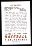 1951 Bowman REPRINT #155  Lou Brissie  Back Thumbnail
