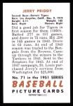 1951 Bowman REPRINT #71  Jerry Priddy  Back Thumbnail