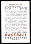 1951 Bowman REPRINT #311  Mickey Harris  Back Thumbnail