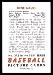 1951 Bowman REPRINT #312  Gene Mauch  Back Thumbnail