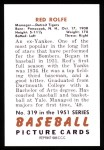 1951 Bowman REPRINT #319  Red Rolfe  Back Thumbnail