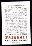 1951 Bowman REPRINT #89  Harry Thompson  Back Thumbnail