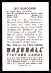 1952 Bowman REPRINT #146  Leo Durocher  Back Thumbnail