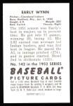 1952 Bowman REPRINT #142  Early Wynn  Back Thumbnail