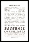 1952 Bowman REPRINT #75  George Kell  Back Thumbnail