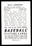1952 Bowman REPRINT #122  Billy Johnson  Back Thumbnail