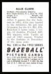 1952 Bowman REPRINT #130  Allie Clark  Back Thumbnail