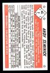1953 Bowman B&W Reprint #7  Andy Seminick  Back Thumbnail