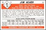 1953 Bowman REPRINT #76  Jim Hearn  Back Thumbnail