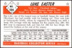 1953 Bowman REPRINT #104  Luke Easter  Back Thumbnail