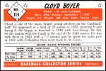1953 Bowman REPRINT #115  Cloyd Boyer  Back Thumbnail
