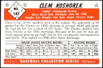 1953 Bowman REPRINT #147  Clem Koshorek  Back Thumbnail