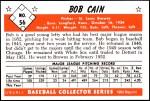 1953 Bowman REPRINT #56  Bob Cain  Back Thumbnail