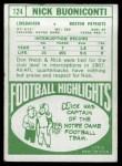 1968 Topps #124  Nick Buoniconti  Back Thumbnail