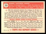 1952 Topps REPRINT #233  Bob Friend  Back Thumbnail