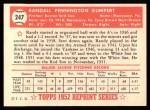 1952 Topps REPRINT #247  Randy Gumpert  Back Thumbnail