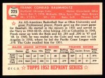 1952 Topps REPRINT #225  Frank Baumholtz  Back Thumbnail