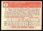 1952 Topps REPRINT #25  Johnny Groth  Back Thumbnail