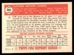 1952 Topps REPRINT #285  Cliff Fannin  Back Thumbnail