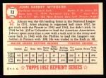 1952 Topps REPRINT #13  Johnny Wyrostek  Back Thumbnail