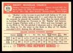 1952 Topps REPRINT #323  Bubba Church  Back Thumbnail