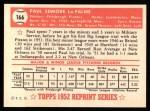 1952 Topps REPRINT #166  Paul LaPalme  Back Thumbnail