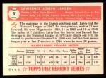 1952 Topps REPRINT #5  Larry Jansen  Back Thumbnail