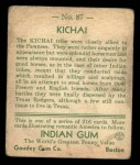 1933 Goudey Indian Gum #87   Kichai Tribe  Back Thumbnail
