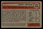 1954 Bowman #216 SS Jerry Snyder  Back Thumbnail