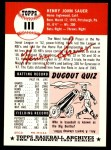 1953 Topps Archives #111  Hank Sauer  Back Thumbnail
