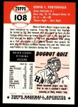 1953 Topps Archives #108  Bob Porterfield  Back Thumbnail