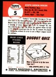 1953 Topps Archives #5  Joe Dobson  Back Thumbnail