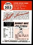 1953 Topps Archives #203  Cliff Fannin  Back Thumbnail