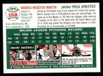 1954 Topps Archives #168  Morrie Martin  Back Thumbnail