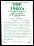 1978 TCMA The Stars of the 1960s #21  Whitey Ford  Back Thumbnail