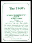 1978 TCMA The Stars of the 1960s #264  Pat Jarvis  Back Thumbnail