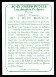 1978 TCMA The Stars of the 1960s #156  Johnny Podres  Back Thumbnail