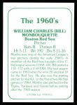 1978 TCMA The Stars of the 1960s #111  Bill Monbouquette  Back Thumbnail