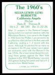 1978 TCMA The Stars of the 1960s #276  Lew Burdette  Back Thumbnail
