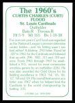 1978 TCMA The Stars of the 1960s #240  Curt Flood  Back Thumbnail
