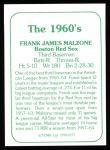 1978 TCMA The Stars of the 1960s #177  Frank Malzone  Back Thumbnail