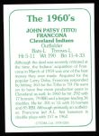 1978 TCMA The Stars of the 1960s #205  Tito Francona  Back Thumbnail